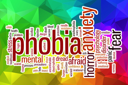 phobia: Phobia word cloud concept with abstract background