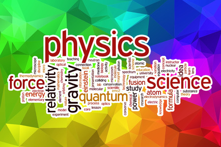 Physics word cloud concept with abstract background
