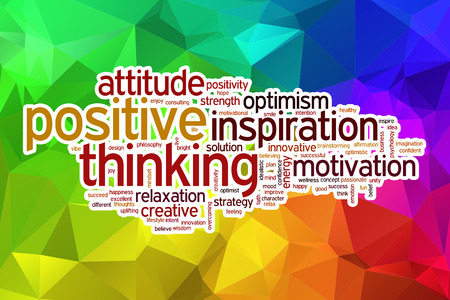 idealistic: Positive thinking word cloud concept with abstract background Stock Photo