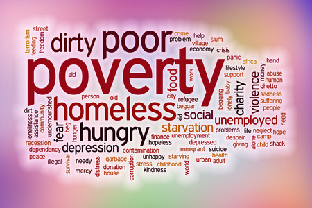 Poverty word cloud concept with abstract background photo