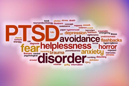 wojenne: PTSD Koncepcja cloud słowo z abstrakcyjnym tle
