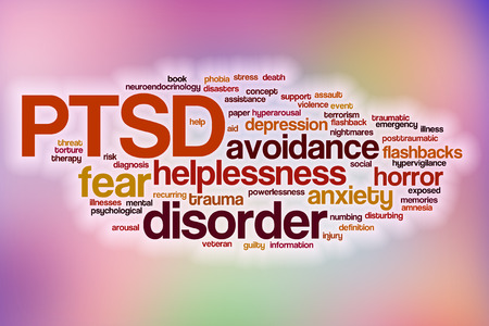 traumatic: PTSD word cloud concept with abstract background