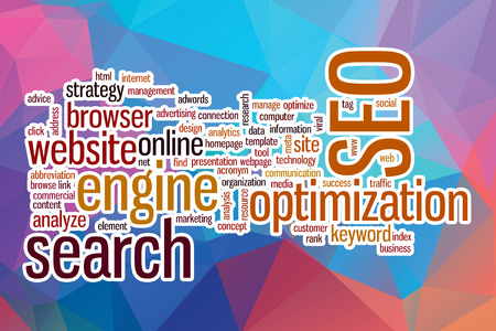 keywords link: SEO word cloud concept with abstract background