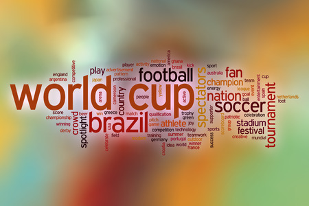 world cup: World cup word cloud concept with abstract background