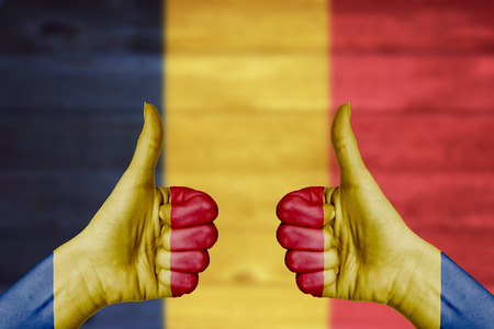 Romania flag painted on female hands thumbs up with blurry wooden background photo