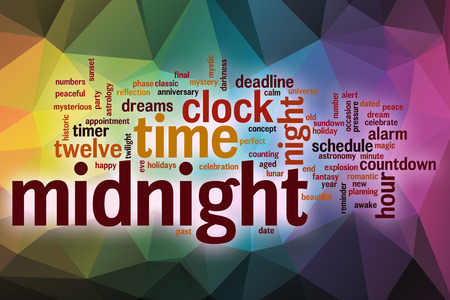past midnight: Midnight word cloud concept with abstract background