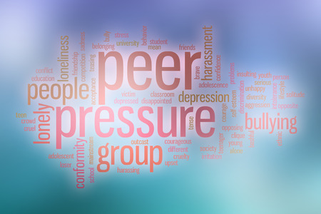 peer: Peer pressure word cloud concept with abstract background