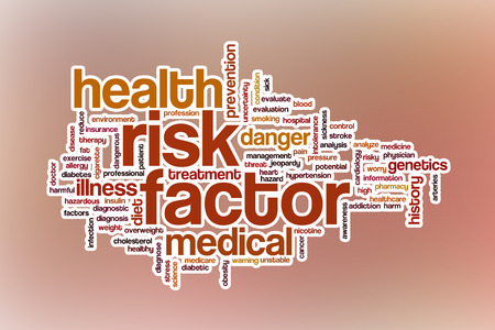 factor: Risk factor word cloud concept with abstract background Stock Photo
