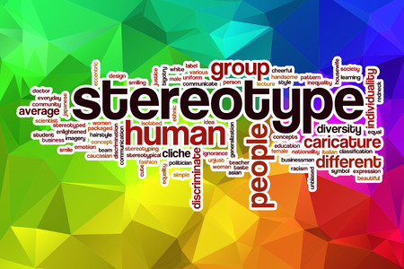 stereotype: Stereotype word cloud concept with abstract background Stock Photo