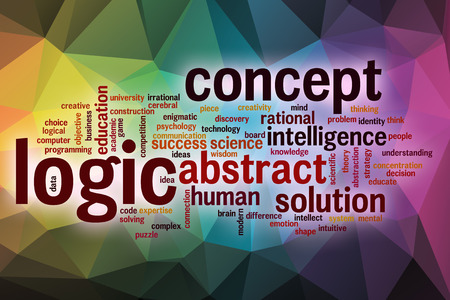 l�gica: L�gica concepto de nube de palabras con el fondo abstracto