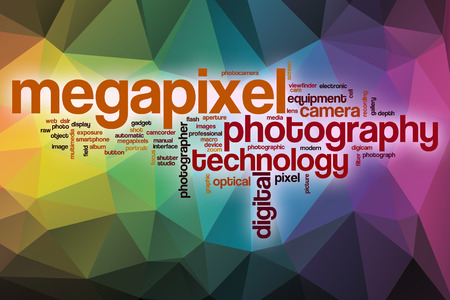 megapixel: Megapixel word cloud concept with abstract background