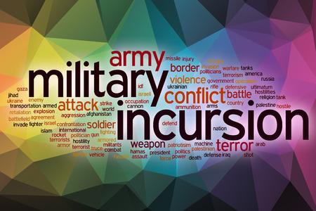 incursion: Incursion militaire notion mot de nuages ??avec fond abstrait Banque d'images
