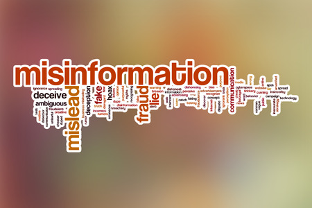 conman: Misinformation word cloud concept with abstract background