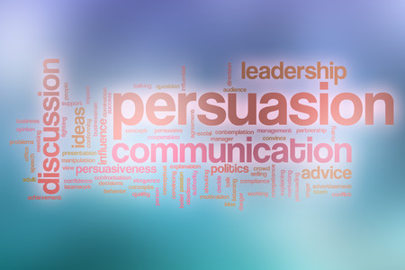 persuading: Persuasion word cloud concept with abstract background