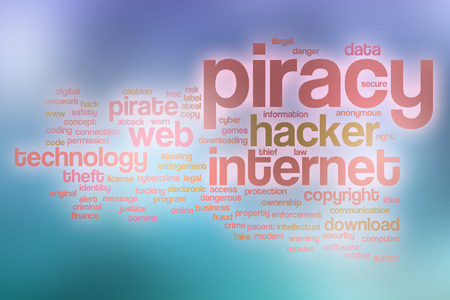 piracy: Piracy word cloud concept with abstract background Stock Photo