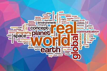 real world: Real world word cloud concept with abstract background Stock Photo
