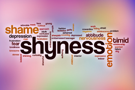Shyness word cloud concept with abstract background photo