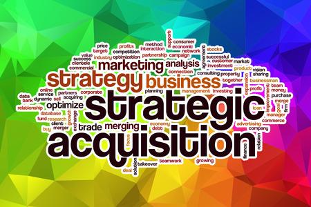 抽象的な背景と戦略的買収単語雲の概念