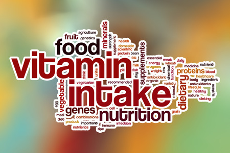 intake: Vitamin intake word cloud concept with abstract background
