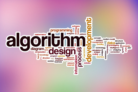 algorithm: Algorithm word cloud concept with abstract background Stock Photo