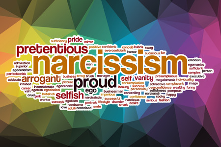 narcissist: Narcissism word cloud concept with abstract background