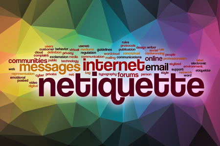 Netiquette word cloud concept with abstract background Standard-Bild