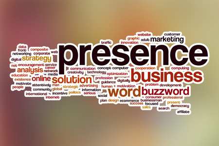 presence: Presence word cloud concept with abstract background