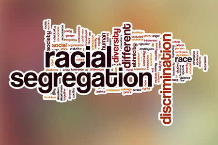 segregation: Racial segregation word cloud concept with abstract background Stock Photo