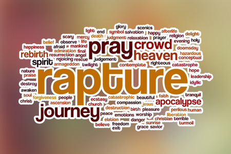 rapture: Rapture word cloud concept with abstract background Stock Photo