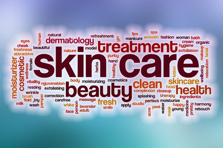 glowing skin: Skin care word cloud concept with abstract background