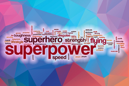 superpower: Superpower word cloud concept with abstract background Stock Photo