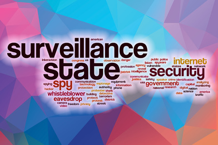 Surveillance state word cloud concept with abstract background