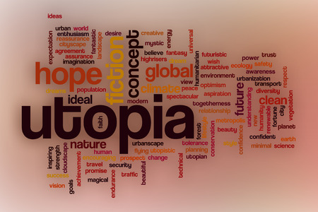 utopia: Utopia word cloud concept with abstract background Stock Photo