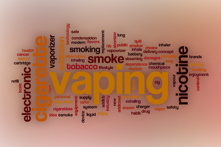 safer: Vaping word cloud concept with abstract background