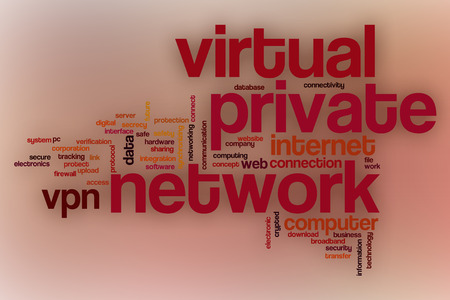 vpn: Virtual private network word cloud concept with abstract background