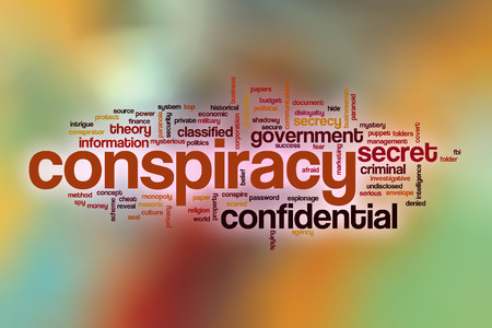 conspire: Conspiracy word cloud concept with abstract background Stock Photo