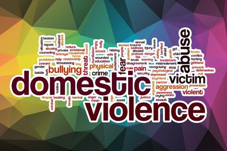 violencia intrafamiliar: Violencia en el hogar concepto de nube de palabras con el fondo abstracto Foto de archivo