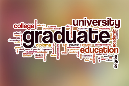 Graduate word cloud concept with abstract background Stock Photo