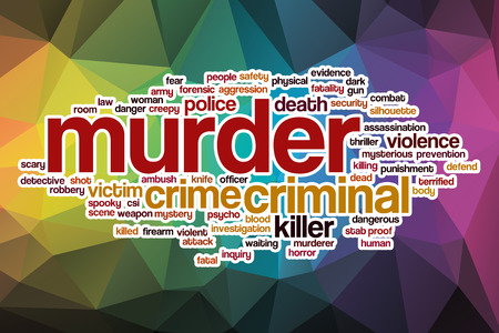 Murder word cloud concept with abstract background photo