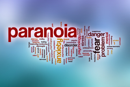 paranoia: Paranoia word cloud concept with abstract background Stock Photo