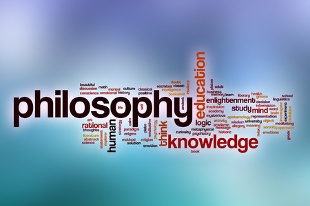 Philosophy word cloud concept with abstract background Foto de archivo
