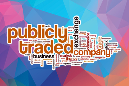 initial public offerings: Publicly traded word cloud concept with abstract background