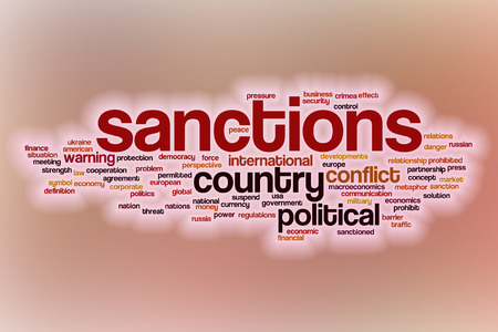 sanctioned: Sanctions word cloud concept with abstract background Stock Photo