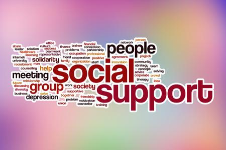 Le soutien social notion mot de nuages ??avec fond abstrait Banque d'images - 37876711