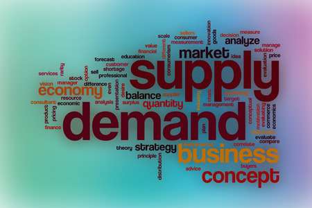 economic theory: Supply demand word cloud concept with abstract background
