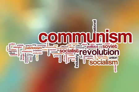 Communism word cloud concept with abstract background photo