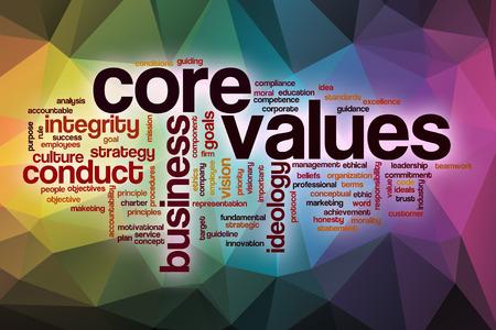 Core valores palabra nube concepto con el fondo abstracto