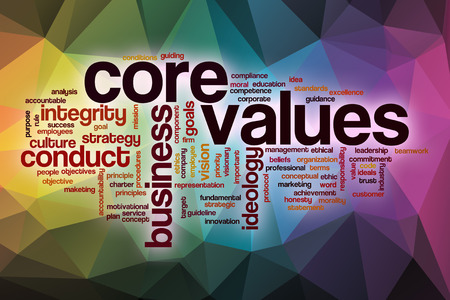 Core values word cloud concept with abstract background