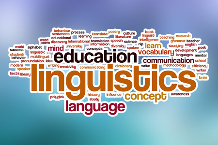 linguistics: Linguistics word cloud concept with abstract background Stock Photo