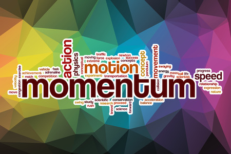 momentum: Momentum word cloud concept with abstract background Stock Photo